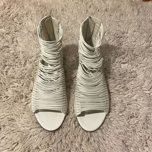 Tory Burch White Leather Caged Sandals